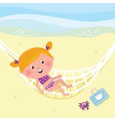 girl relaxing in the hammock vector image vector image