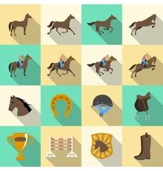 Horseback riding flat shadows icons set vector image vector image