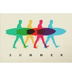 Lets surf on beach man surfer concept design vector image