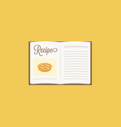 open cooking book with photo inside vector image