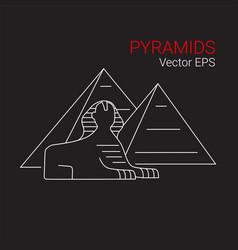 printsphinx and pyramid egypt line icon vector image
