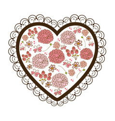 silhouette heart with decorative frame and vector image vector image