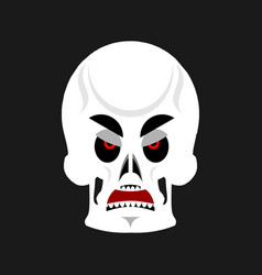 skull angry emoji skeleton head grumpy emotion vector image vector image