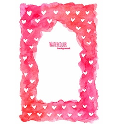 Watercolor frame with hearts vector image