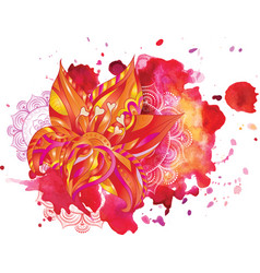 watercolor stains flowers mandala vector image vector image