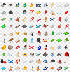 100 region icons set isometric 3d style vector