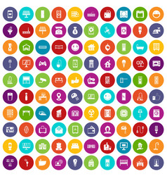 100 smart house icons set color vector
