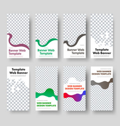 8 templates vertical web banners with space vector image