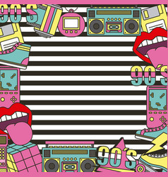 90s patches fashion poster frame decoration vector
