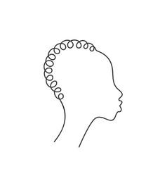 African non-binary human head in profile vector