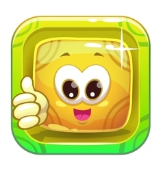 App icon with funny cute yellow character vector image