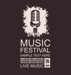 Banner for music festival with a microphone vector