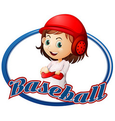 Baseball logo design with girl player vector