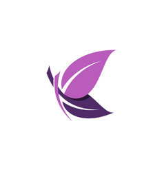 Beautiful purple leaf butterfly logo symbol icon vector