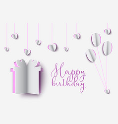 birthday paper cut design of gift box with happy vector image