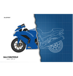 Blue motorcycle in realistic style side view vector