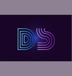 Blue pink ds d s gradient alphabet letter vector
