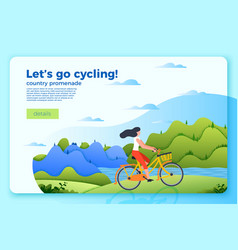 Bright banner template with girl on a bike vector