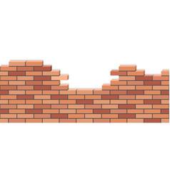 broken brick wall 3d isometric view red brick vector image