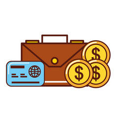 business money dollar coins credit card briefcase vector image