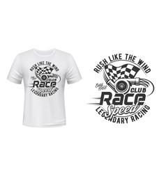 car racing club t-shirt print mockup vector image