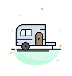 caravan camping camp travel abstract flat color vector image