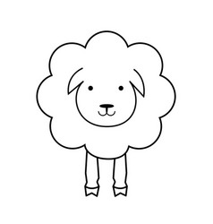 cartoon sheep line outline icon wool textile vector image
