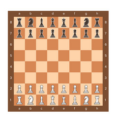 chess board with piece setup flat clip art vector image