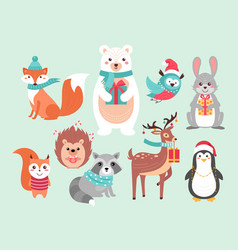 christmas cute woodland animals vector image