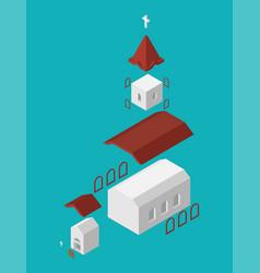 church structure parts isometrics catholic vector image