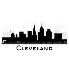 Cleveland ohio city skyline silhouette with black vector