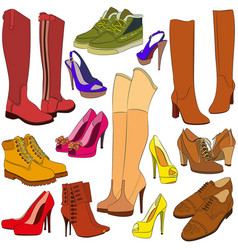 Collection of different shoes vector