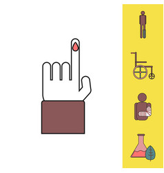 Collection of icons and bodily injuries vector
