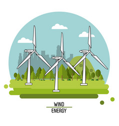 Color landscape image wind power plant with vector