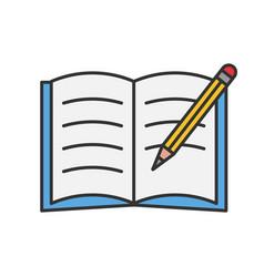 Copybook with pencil color icon vector