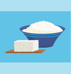 Cottage cheese portions set vector