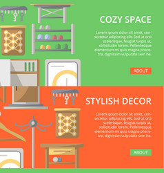 cozy corridor space poster set in flat style vector image