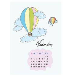 doodle balloons in calendar november 2018 vector image