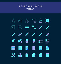 Editorial flat style design icon set vol1 vector
