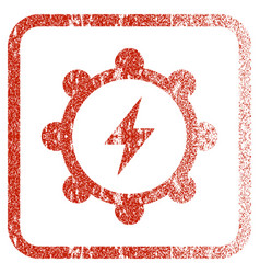 Electric energy cogwheel framed textured icon vector