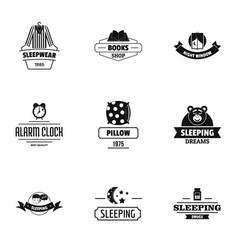 Eternal sleep logo set simple style vector