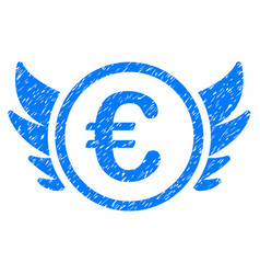 Euro angel investment icon grunge watermark vector