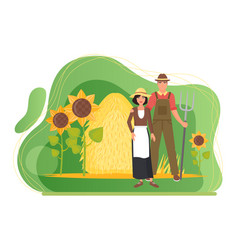Farmers couple people standing in farm village vector