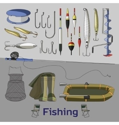 Fishing set icons vector image