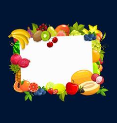 Frame with tropical fruits cartoon border vector