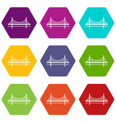 golden gate bridge icons set 9 vector image