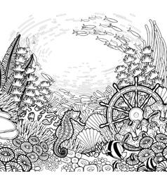 Graphic coral reef design vector