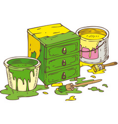 Green and yellow chest of drawers vector
