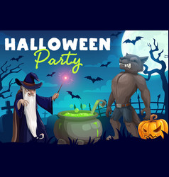 Halloween werewolf and wizard making potion vector