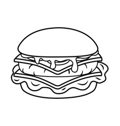Hamburger icon cartoon black and white vector